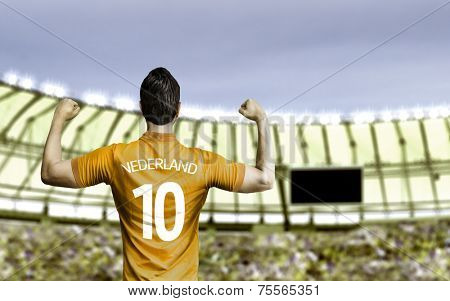 Dutchman soccer player celebrates in the stadium
