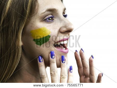 Blonde Brazilian fan celebrates isolated in white background