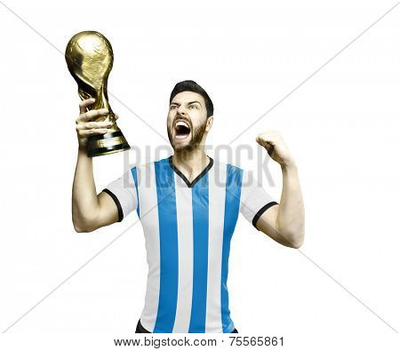 Argentinian soccer player celebrates the championship holding a trophy on white background