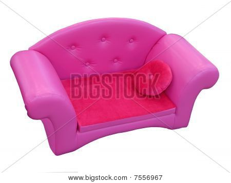 Violet Sofa With Red Pillow Isolated
