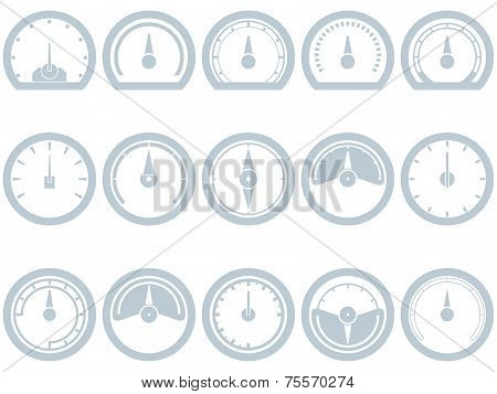 Set of fifteen flat, simple, speedometer style icons. Speedometer, Fuel, Scale, Full, Empty, Battery