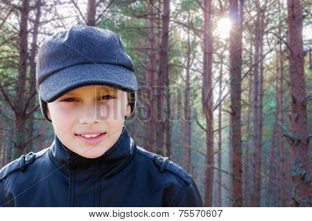 Child Boy Backlight Portrait Pine Forest Outdoor
