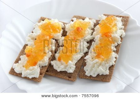 toasts with apricot jam