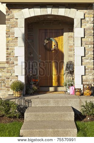 Front Door Entrance and Decorations.