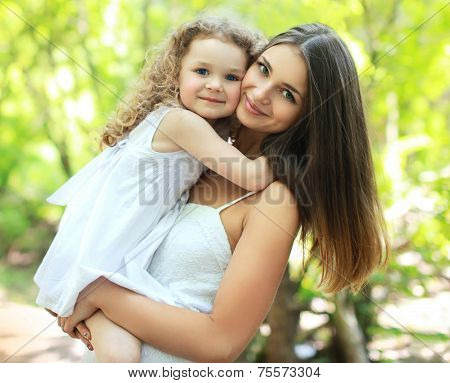 Portrait Lovely Mom And Daughter In Warm Sunny Summer Day, Happy Family