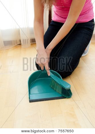 Close-up Of A Woman Doing Housework