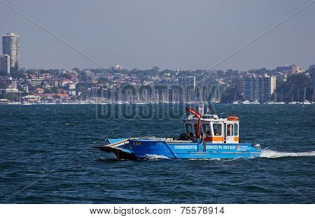 Waste disposal boat in Sydney