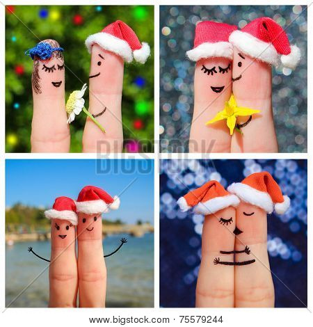Finger art of a Happy couple. Collage happy couple celebrates Christmas.