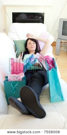 Pretty Woman Relaxing After Shopping