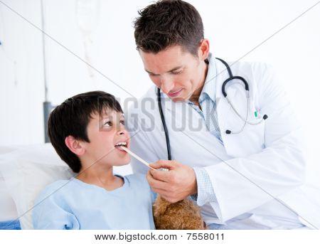 Cute Little Boy Attending A Medical Exam