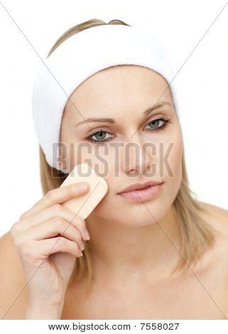 Beautiful Woman Putting Make-up
