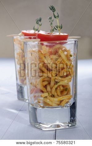 Sweet Chilli Noodle Appetizer In A Shot Glass