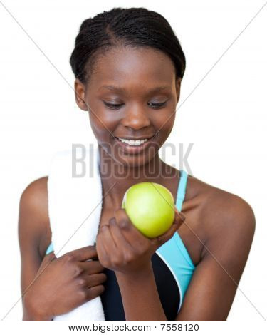 Young Fitness Woman Eating An Apple