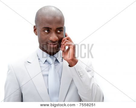 Portrait Of An Attractive Businessman Talking On Phone