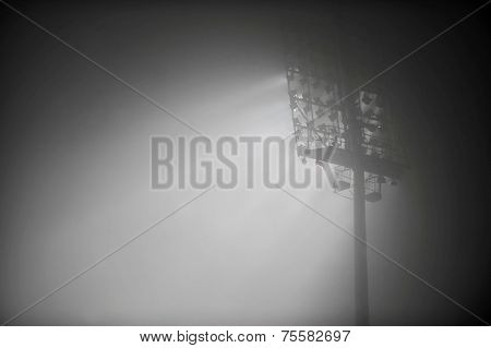 Night Scene With Stadium Floodlights In Fog