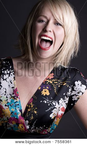 Pretty Blonde Woman Shouting