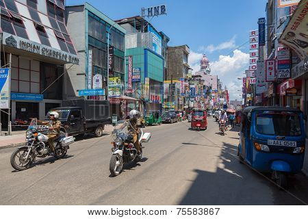 Police on motorcycles in the street of Pettah area