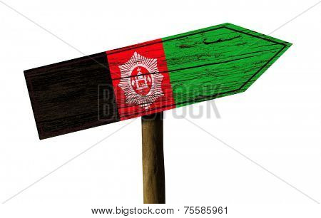 Afghanistan wooden sign isolated on white background