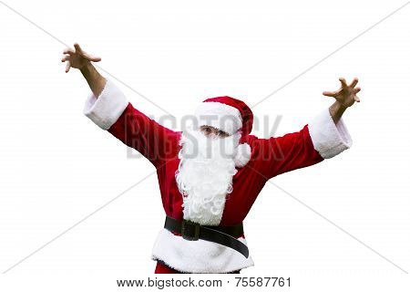 Santa Claus With His Hands Up In The Air