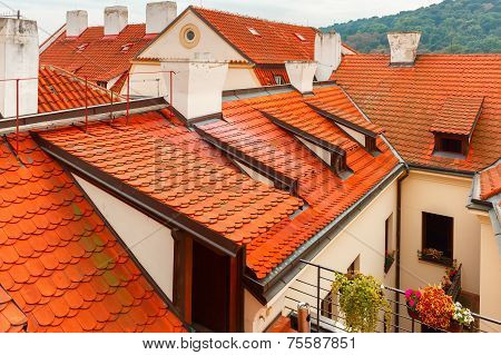 Red Tiled Roofs In Lesser Town, Prague, Czech Republic