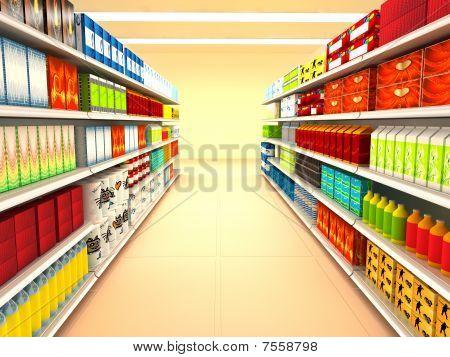 Supermarkt. 3D gerenderten Bild