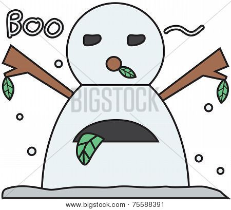 vector winter snowman face cartoon emotion expression boo