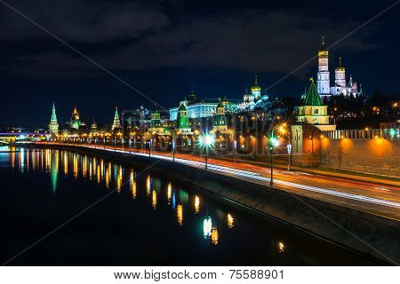 Kremlin Wall And Moscow River At The Evening, Moscow, Russia
