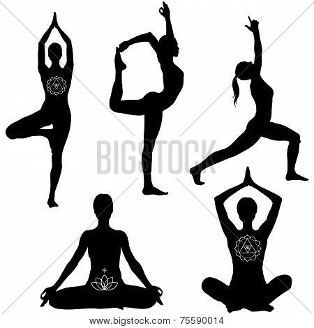 Yoga poses black silhouettes