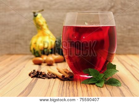 Red Tea And Pumpkins