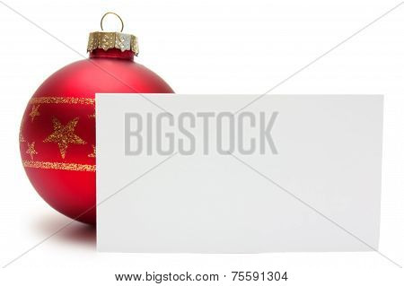 Red christmas ball with card