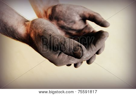 Vintage photo of dirty hands