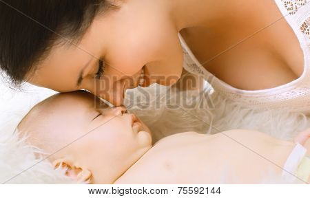 Closeup Sensual Tender Mom And Sleep Baby