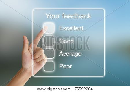 Hand Pushing Your Feedback On Virtual Screen