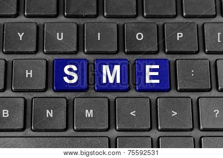Sme Or Small And Medium-sized Enterprises Word On Keyboard