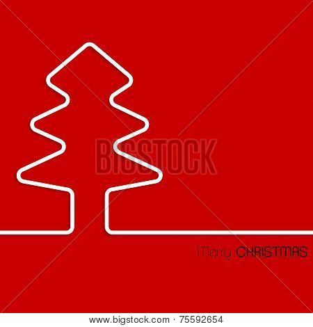 Simple Christmas Greeting Card White Tree