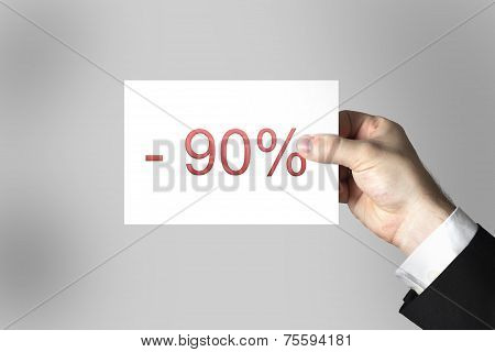 Hand Holding Card Label Ninety Percent Off