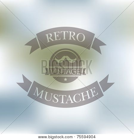 Hipster Blur Retro Vintage Label Background With Mustache