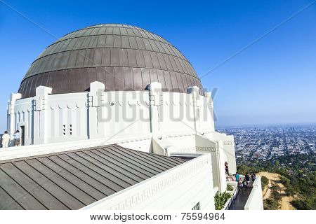 LOS ANGELES, USA - JUNE 4, 2013: observatory in Griffith park in Los Angeles on a sunny day