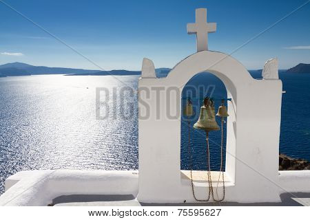 White Bell Tower At Oia