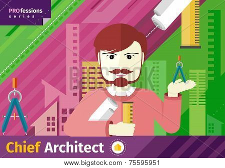 Chief architect with compasses and blueprint