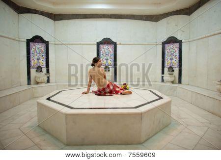 Beautiful Young Woman In Turkish Bath (hammam)