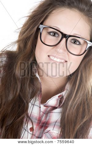 Cute Teenager Geek Against White Background