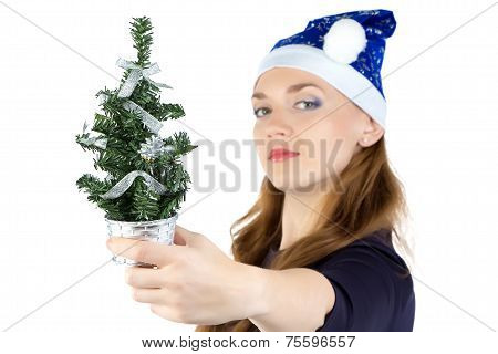 Woman with small christmas fir tree