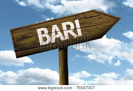Bari, Italy wooden sign on a beautiful day