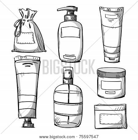 Packaging design. Cosmetics packaging design. Vector illustration.