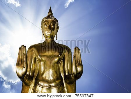 Golden Buddha on a beautiful day