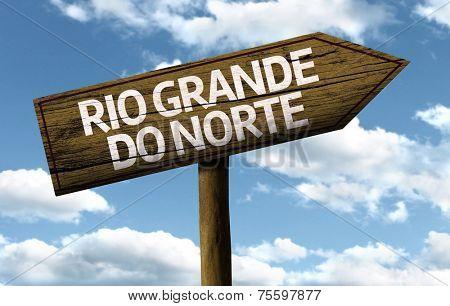 Rio Grande do Norte, Brazil wooden sign on a beautiful day