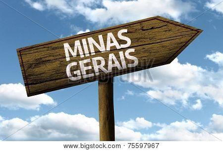 Minas Gerais, Brazil wooden sign on a beautiful day