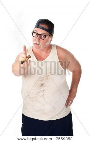 Large Man Pointing