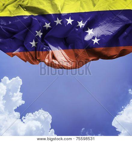 Venezuela waving flag on a beautiful day